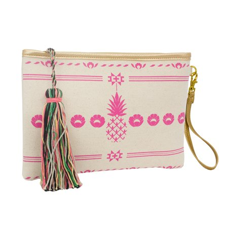 - Magid Aloha Print Tassel Clutch Wristlet, Pink