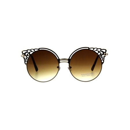 Womens Floral Die Cut Feather Cat Eye Retro Sunglasses Light Gold (Cats Eye Sun Glasses)
