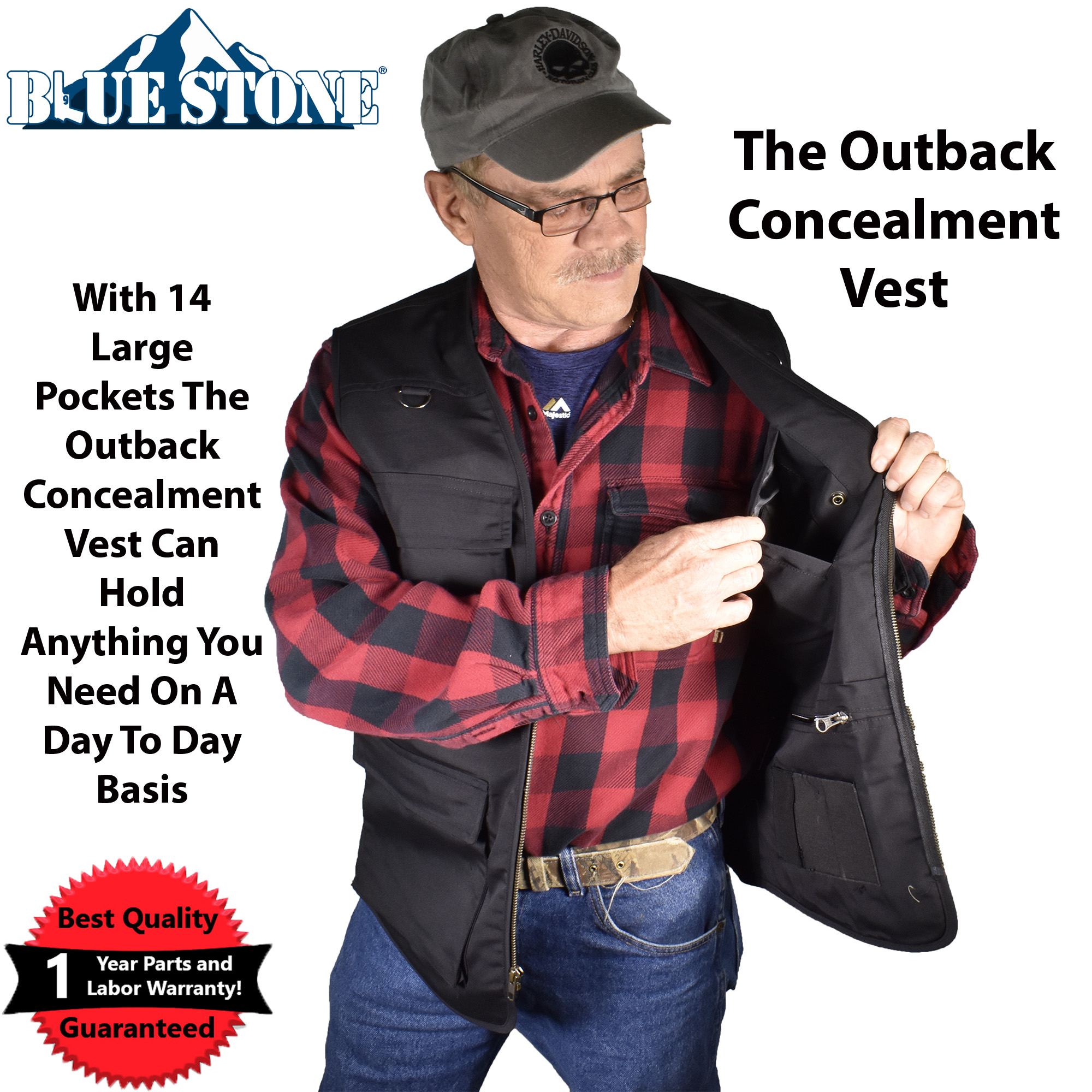 Blue Stone Safety Products Outback Concealment Vest| CCW Vest| Travel Vest| Concealed Carry Vest| Photography Vest|... by Supplier Generic