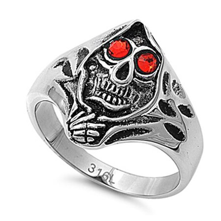 Men's Heavy Biker Hooded Skull Ring Stainless Steel Band New 23mm Size 15