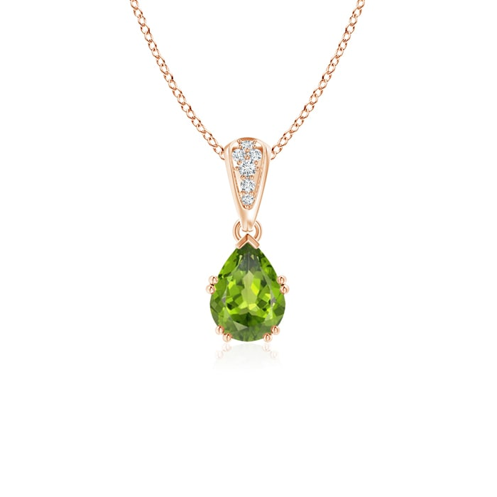 Angara Emerald and Diamond Pendant Necklace in 14k Rose Gold m7Slgc