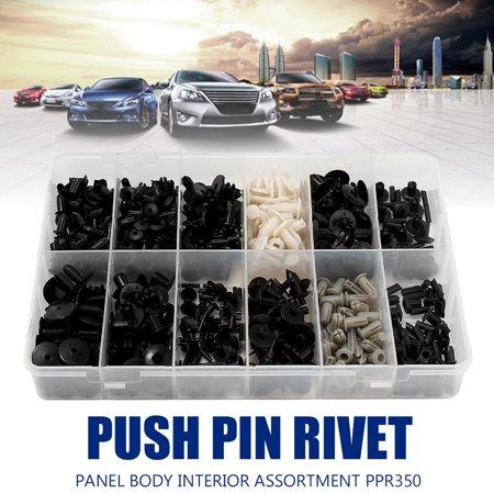 350pcs Universal Automotive Car Push Pin Bumper Rivet Trim Clip Retainer Assortment Kit 12 Values 3 Color With Box
