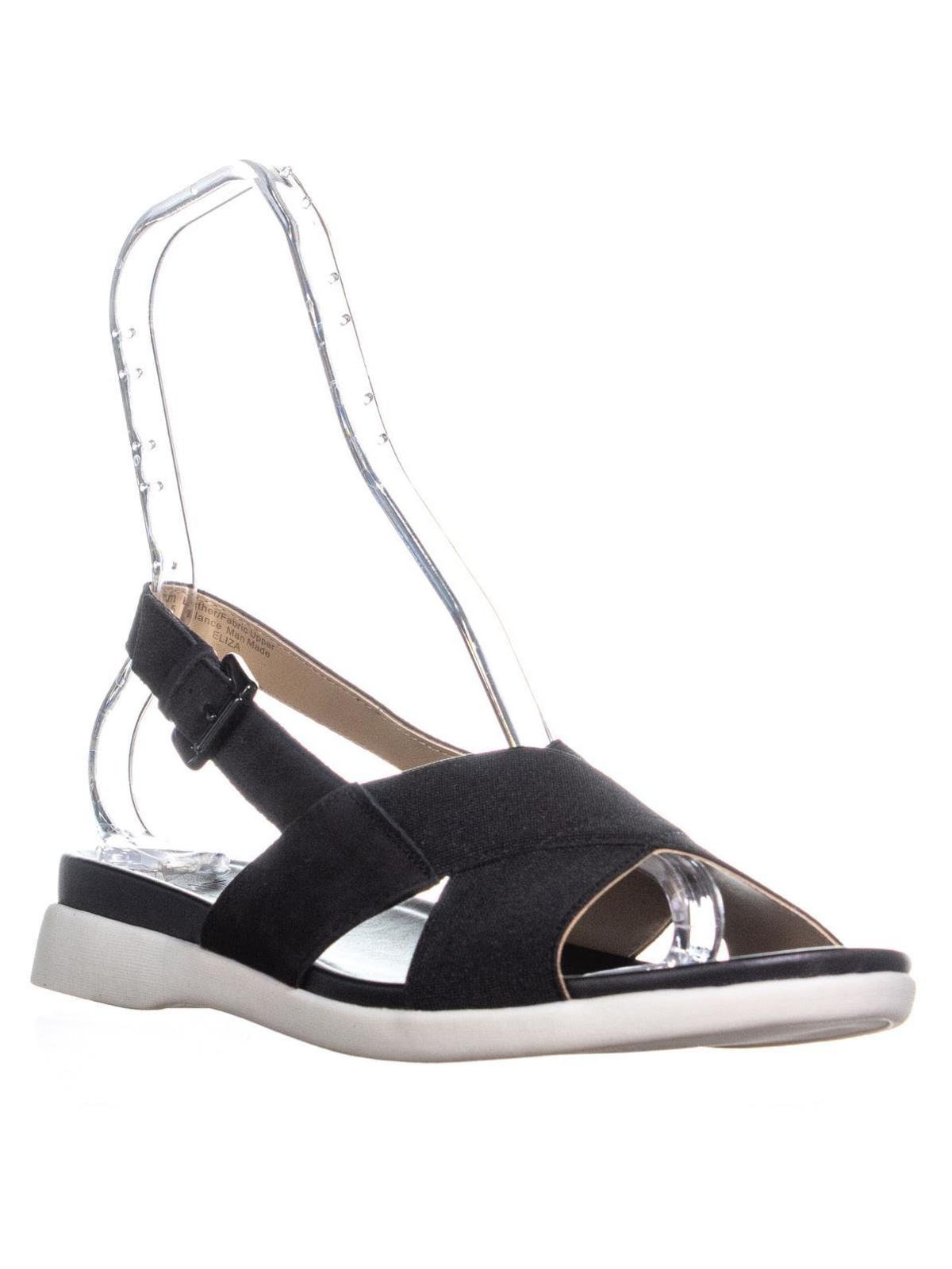 Womens Naturalizer Eliza Flat Ankle Strap Sandals, Black, 9.5 W US by Naturalizer