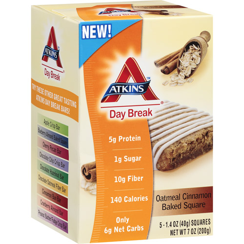 Atkins Day Break Oatmeal Cinnamon Baked Squares, 5ct