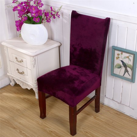 Stretch Fox Velvet Fabric Dining Room Wedding Kitchen Home Chair Seat Covers Purple