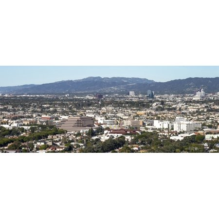 Elevated view of city Culver City West Los Angeles Santa Monica Mountains Santa Monica Los Angeles County California USA Canvas Art - Panoramic Images (27 x 9) ()