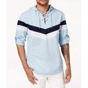 Dream Mens Stripe-Detail Lace-Up Hooded Shirt 2XL