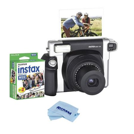Fujifilm INSTAX Wide 300 Instant Film Camera, Retractable 95mm f/14 Lens, 0.37x Optical Viewfinder, Built-In Flash and LCD Screen - Bundle With Instax