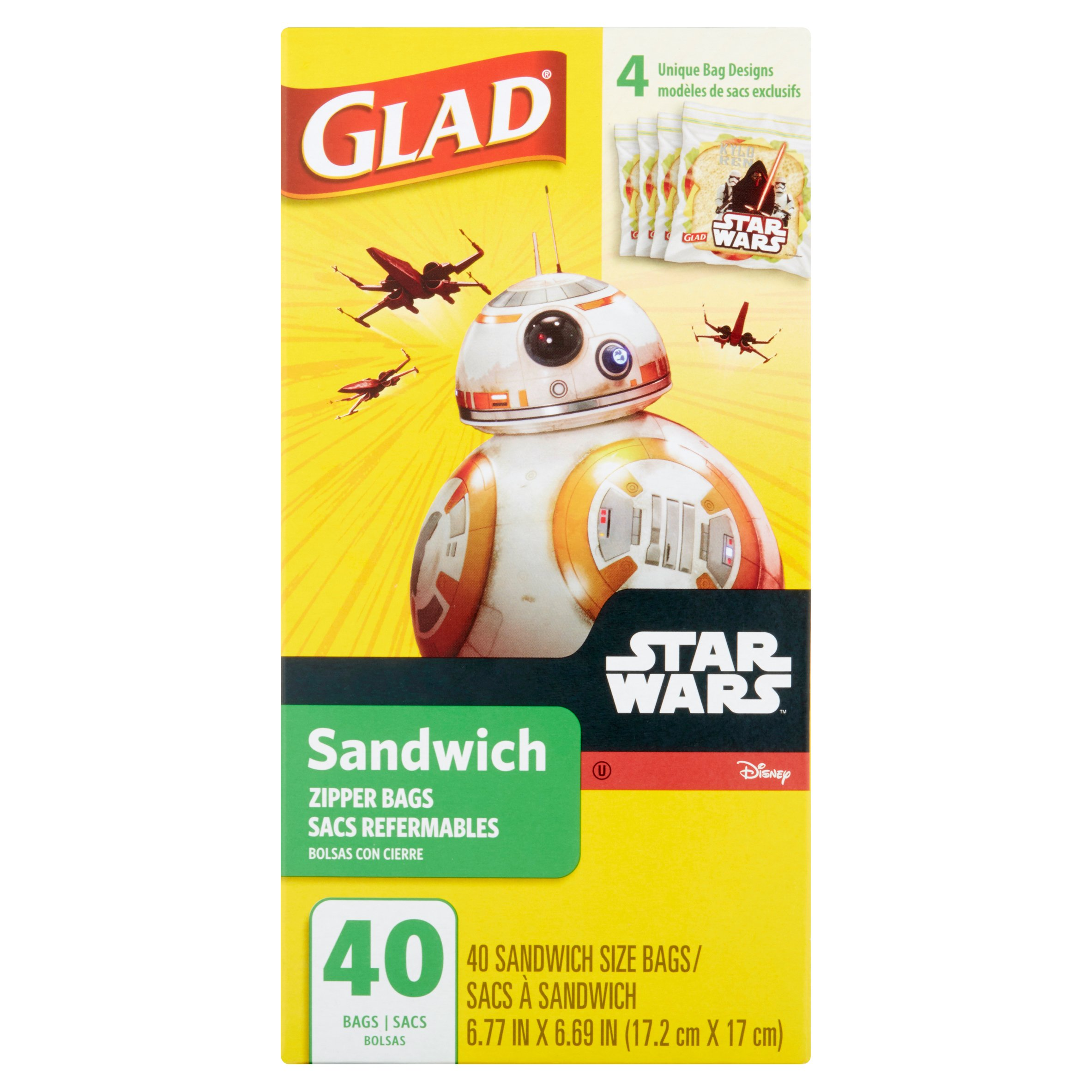 Glad Star Wars Pinch & Seal Zipper, Sandwich Bags, 40 Ct