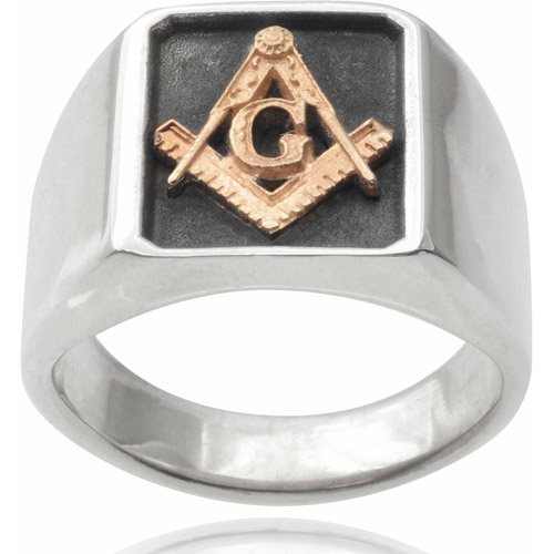 Daxx Men's 14kt Gold-Tone Sterling Silver Large Masonic Ring