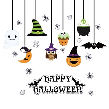 Happy Halloween Pumpkins Spooky Cemetery Witch and Bats Tomb Wall Decals Window Stickers Halloween Decorations for Kids Rooms Nursery Halloween Bar Party (Number 2)