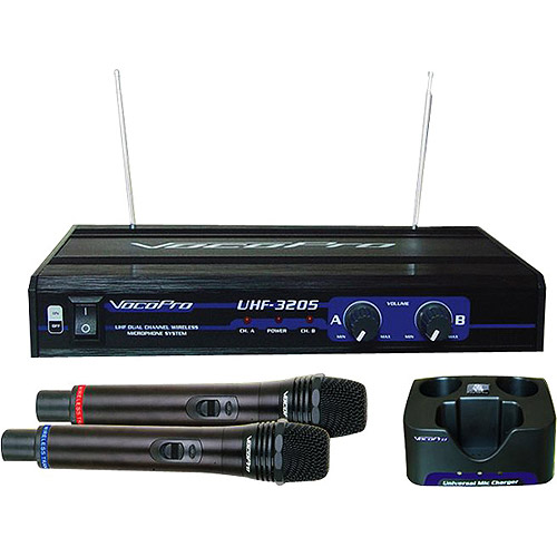 VocoPro UHF-3205 Dual Channel UHF Professional Rechargeable Wireless Microphone System