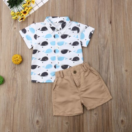 Pudcoco Toddler Kids Baby Boy Whale Tops T-Shirt Pants Shorts Outfits Clothes Summer