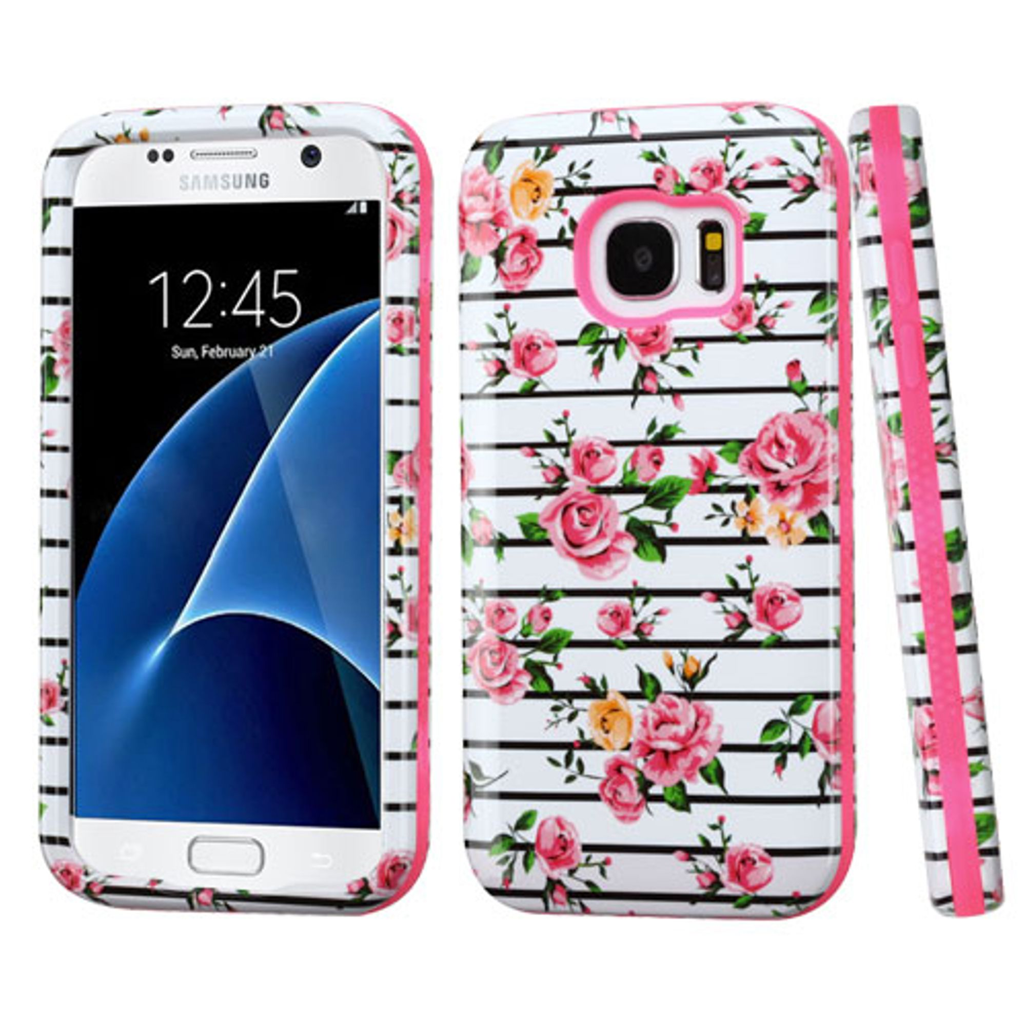 Insten Fresh Roses Hard Dual Layer Rubberized Silicone Cover Case For Samsung Galaxy S7 - Pink/White