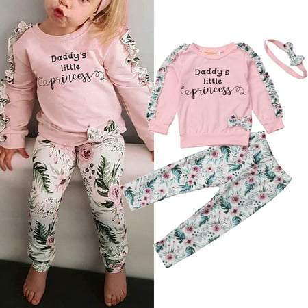 Newborn Kids Baby Girls Winter Clothes Floral Ruffle Tops Pants Leggings 3Pcs Outfits - Winter Clothes Girls