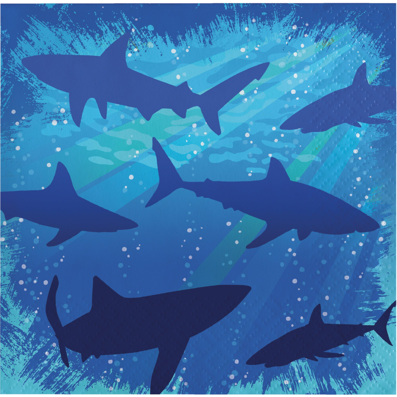 3 Ply Beverage Napkins Shark Splash/Case of 192
