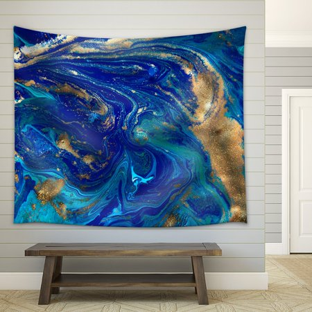 wall26 - Marbled Blue Abstract Background. Liquid Marble Pattern. - Fabric Wall Tapestry Home Decor - 68x80 -