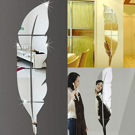 Modern Removable Feather DIY Acrylic Mirror Wall Sticker Home Room Decoration Walmartcom