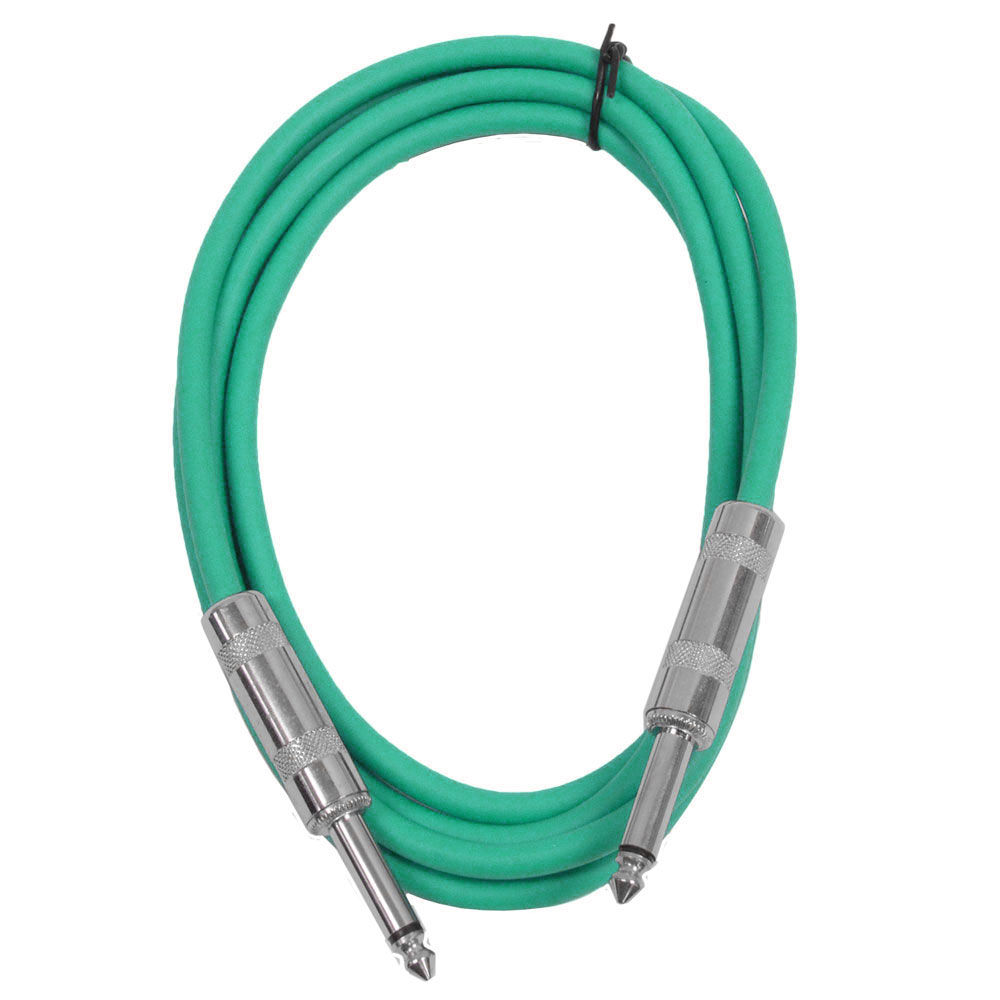 "Seismic Audio  - Green 1/4"" TS 6' Patch Cable - Effects - Guitar - Instrument Green - SASTSX-6Green"
