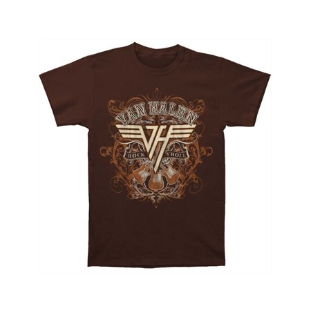 Van Halen Men's  Rock N Roll T-shirt Dark Chocolate Dries Van Noten Men Shirts