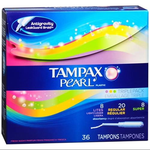 Tampax Pearl Plastic Triple Pack Tampons, Fresh Scent, Assorted 36 ea (Pack of 3)