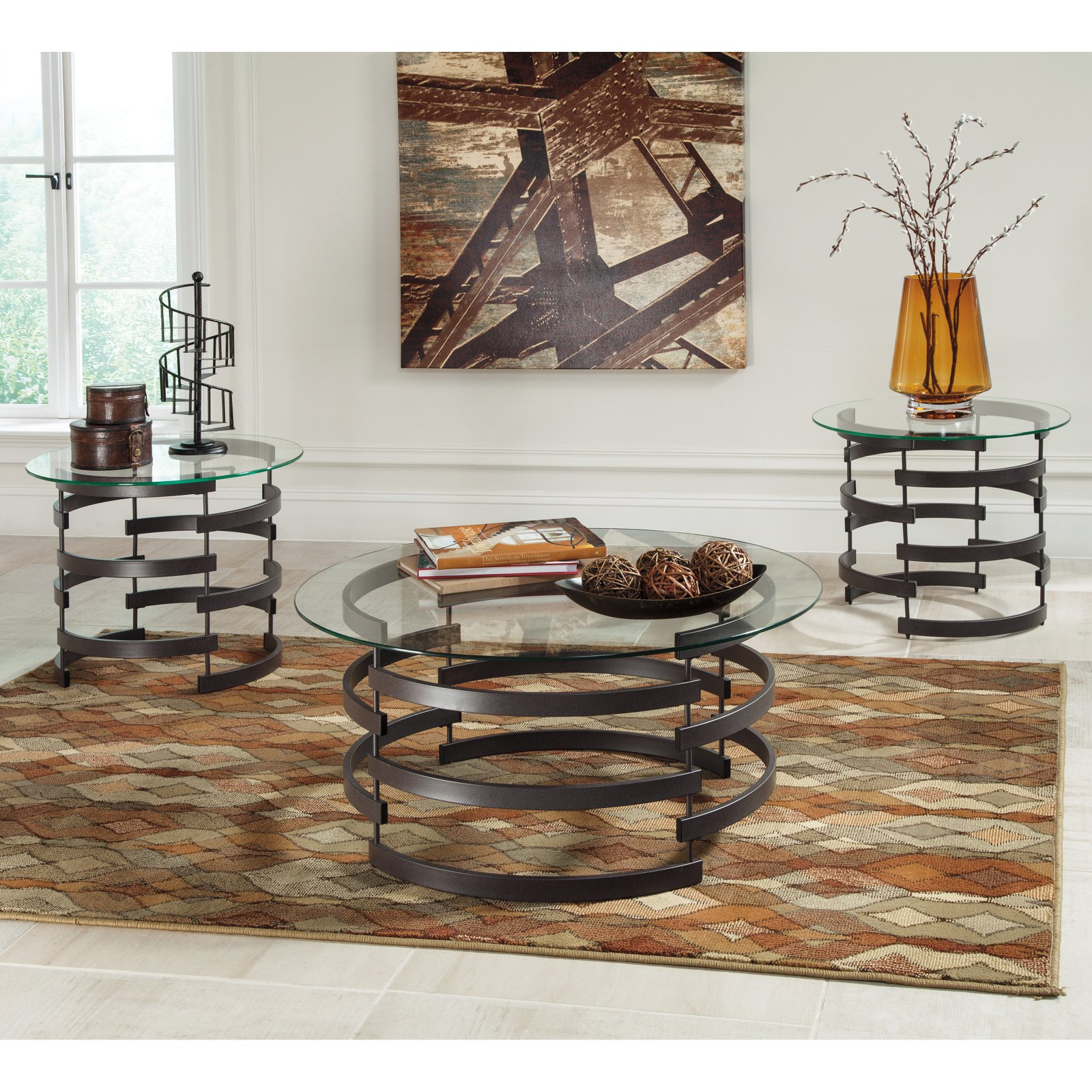 Signature Design By Ashley Kaymine 3 Piece Coffee Table Set