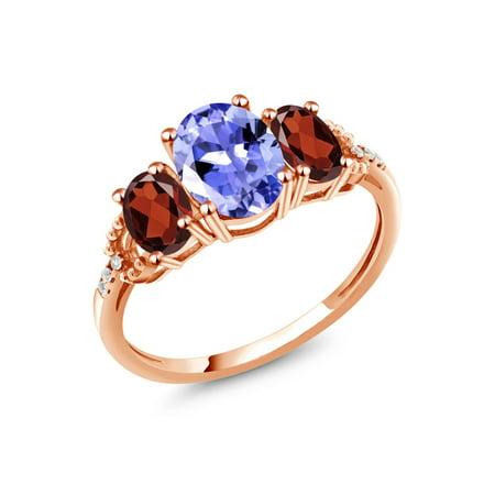 2.20 Ct Oval Blue Tanzanite Red Garnet 10K Rose Gold Diamond Accent Ring