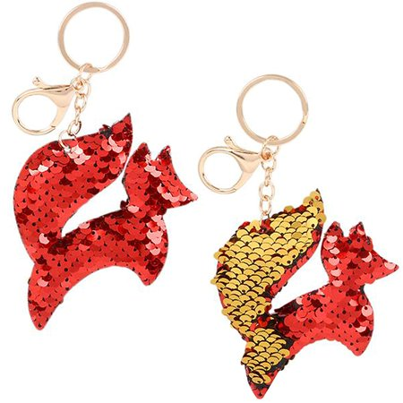 Flip Mermaid Sequin Red Fox Keychain Party Favors Party Supplies (12 pack) ()