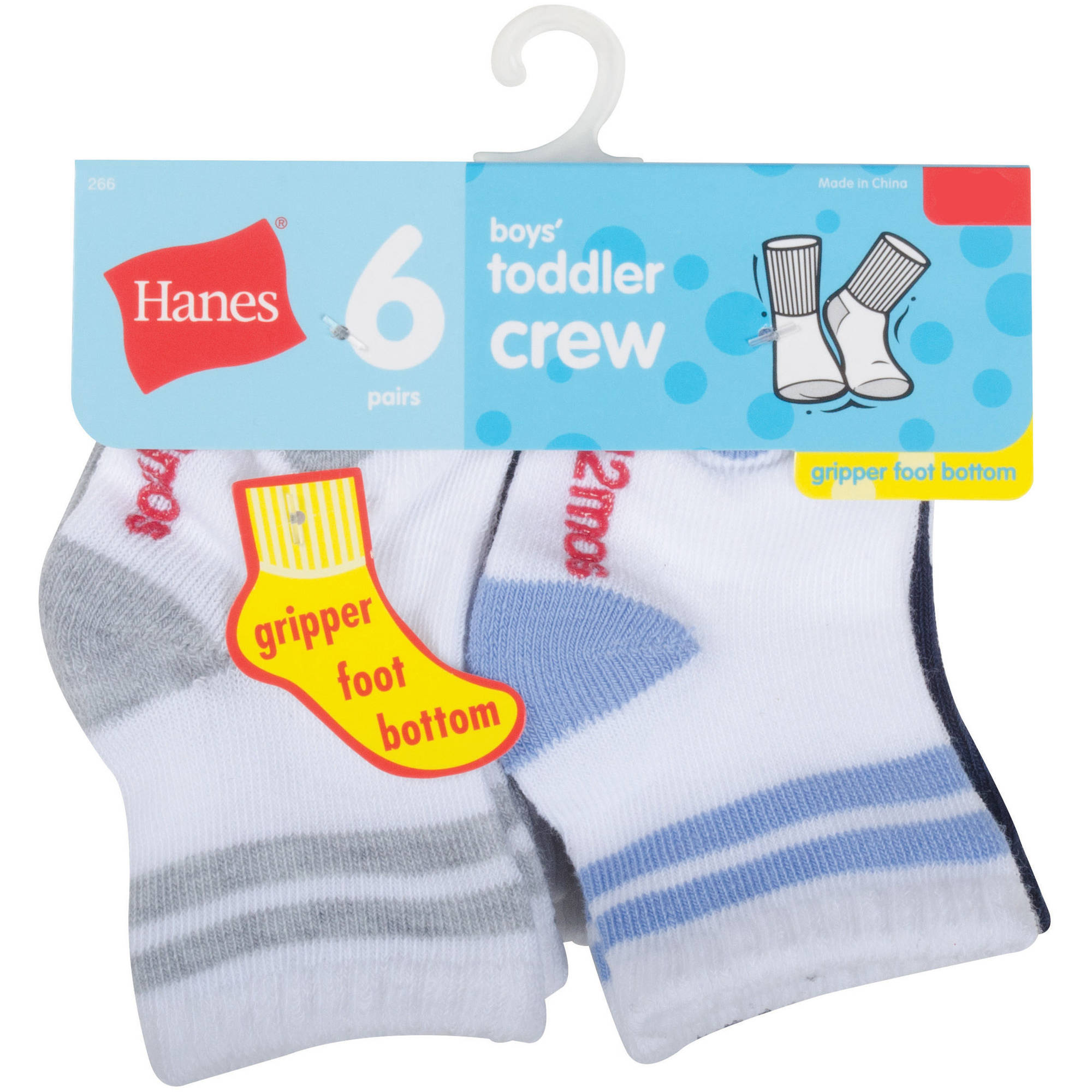 Hanes Baby Toddler Boy Cushion Heel and Toe Crew Socks - 6 Pair