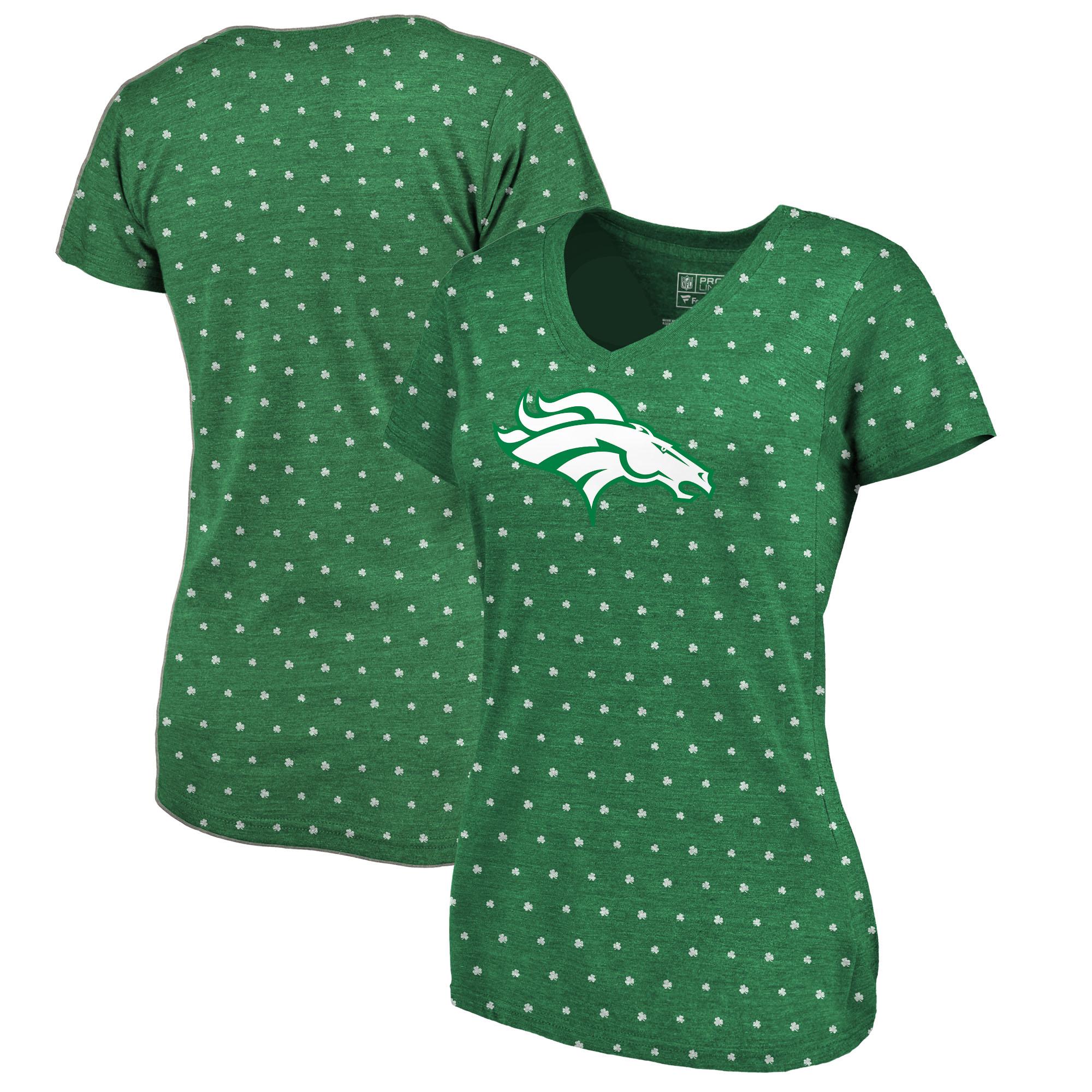 Denver Broncos NFL Pro Line by Fanatics Branded Women's St. Patrick's Day All Irish V-Neck Tri-Blend T-Shirt - Kelly Green