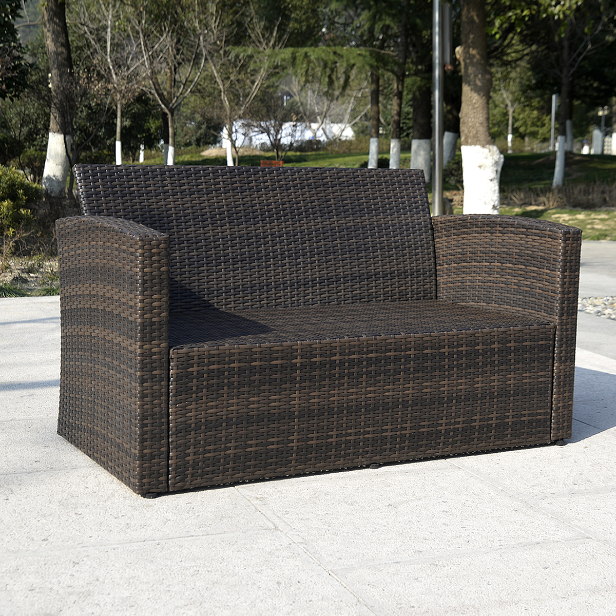 Costway 4 PCS Cushioned Wicker Patio Sofa Furniture Set Garden Lawn Seat  Gradient Brown   Walmart.com