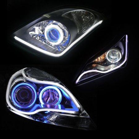 24inch 60cm Automobile Led Neon Strip Lights White Illuminating Headlight Flexible Daytime Running Contouring Light Oem Looking