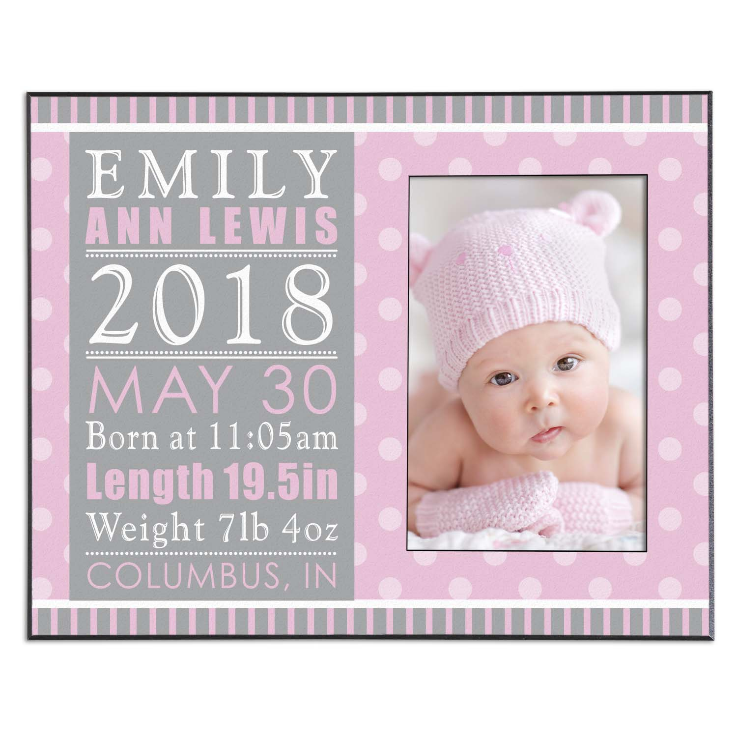"Personalized Precious Details Baby Photo Frame 10"" x 8""-Available in Blue or Pink"