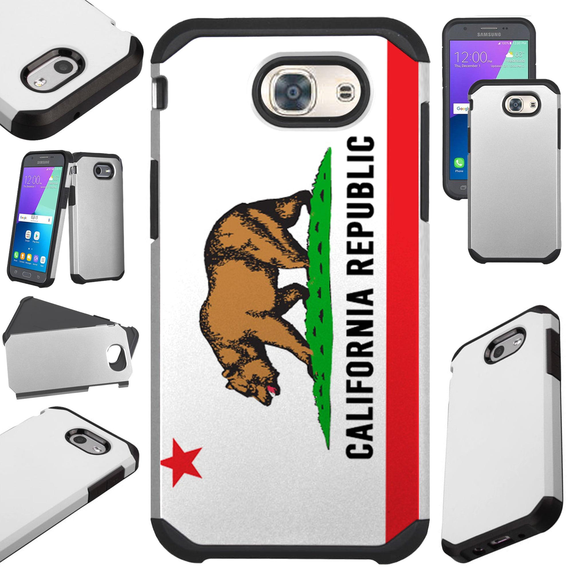 For Samsung Galaxy J3 (2017) / J3 Emerge / J3 Mission / J3 Eclipse / J3 Luna Pro / J3 Prime / Sol 2 / Amp Prime 2 / Express Prime 2 Case Hybrid TPU Fusion Phone Cover (California Flag Wood)