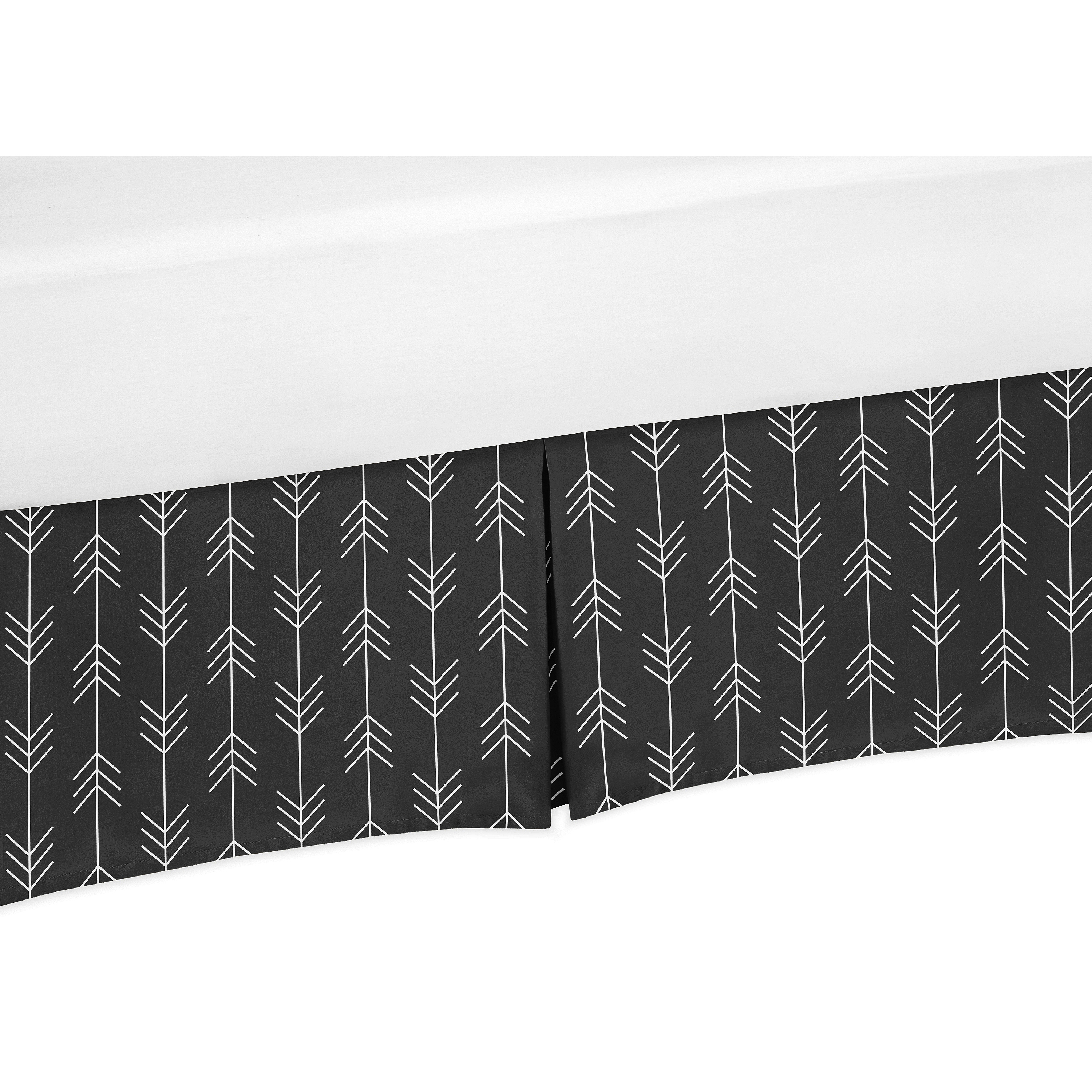 Black And White Woodland Arrow Baby Boy Pleated Crib Bed Skirt Dust Ruffle For Rustic Patch Collection By Sweet Jojo Designs Walmart Com Walmart Com