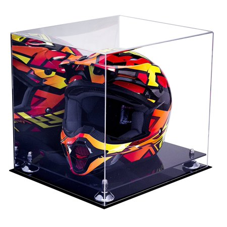 Deluxe Acrylic Motorcycle Motocross or Nascar Racing Helmet Display Case with Silver Risers and Mirror (A024-SR) - Master Chief Deluxe Helmet