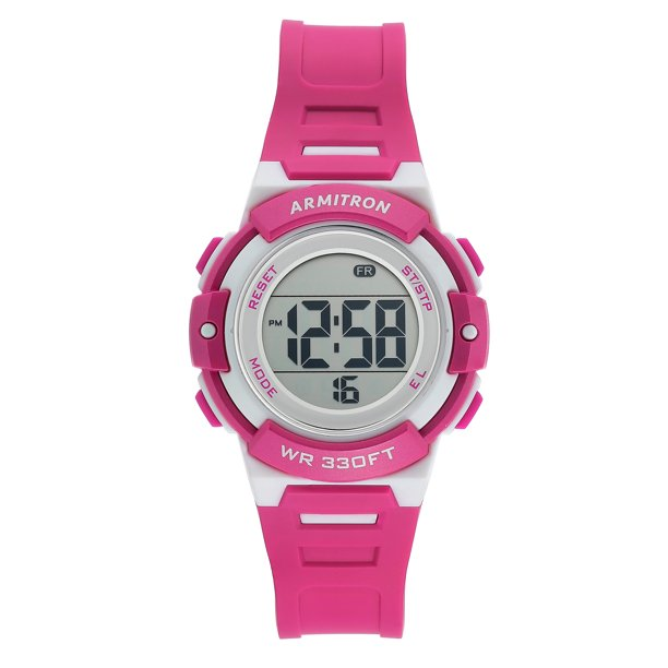 Armitron Unisex Neon Magenta and White Digital Sport Watch