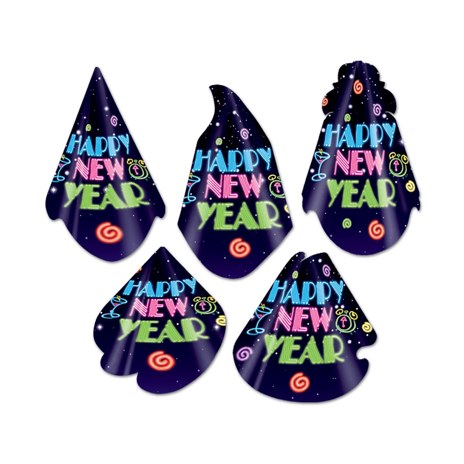 """Club Pack of 50 Neon Midnight """"Happy New Years"""" Legacy Party Favor Hats"""