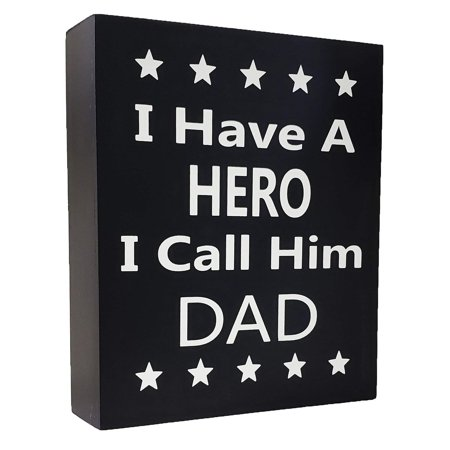 JennyGems I Have a Hero I Call Him Dad - Stand Up Wooden Box Sign, Father's Day, Birthdays, Christmas](Wooden Birthday Sign)