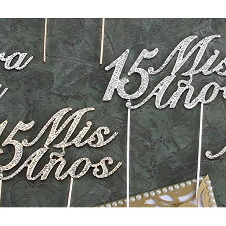 Mis Quince Anos 15 Quinceanera Cake Topper with Silver Rhinestone Number - Quinceanera Centerpiece