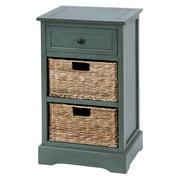 "DecMode 28"" x 16"" Blue Wood Traditional Storage Unit"