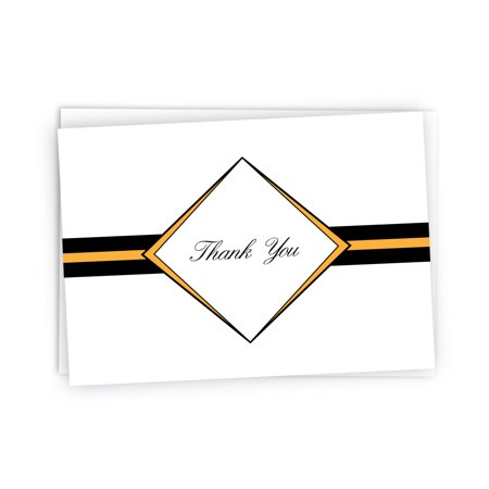 Diamond Thank You Note Cards - 24 Cards & Envelopes (Gold)
