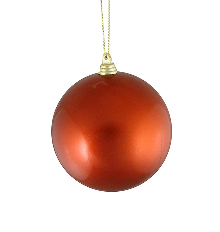 """Satin Burnt Orange Shatterproof Christmas Ball Ornament 4"""" (100mm)"""