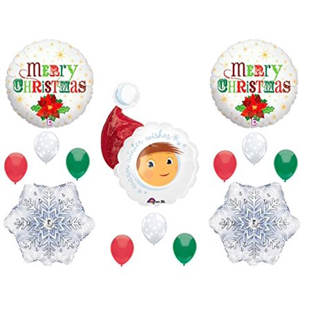 Winter Snow Decorations (SANTA ELF Christmas Balloons Birthday party Decoration Supplies Parade Winter)