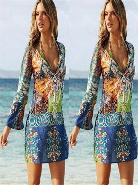 8ba3a1bdb1ffe Product Image Women Chiffon Bathing Suit Sexy Bikini Swimwear Cover Up  Beach Dress L