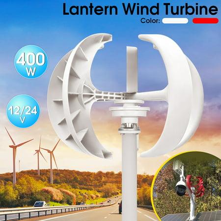 - 12/24v 400W White/Red Lantern Type 5 Blades Vertical Axis Wind Turbine Generator Energy Generating Electric Generator