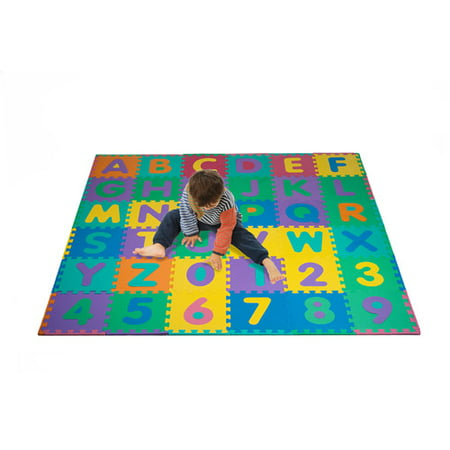Alphabet Squares Mat (Trademark 96-Piece Foam Floor Alphabet and Number Puzzle Mat For Kids )
