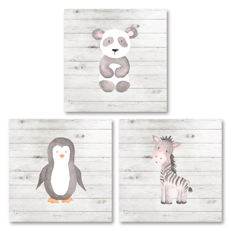 Adorable Zoo Baby Panda, Penguin and Zebra Set (Printed On Paper), Perfect for a Child's Room Or Nursery; Three 8x8in Unframed Paper Posters