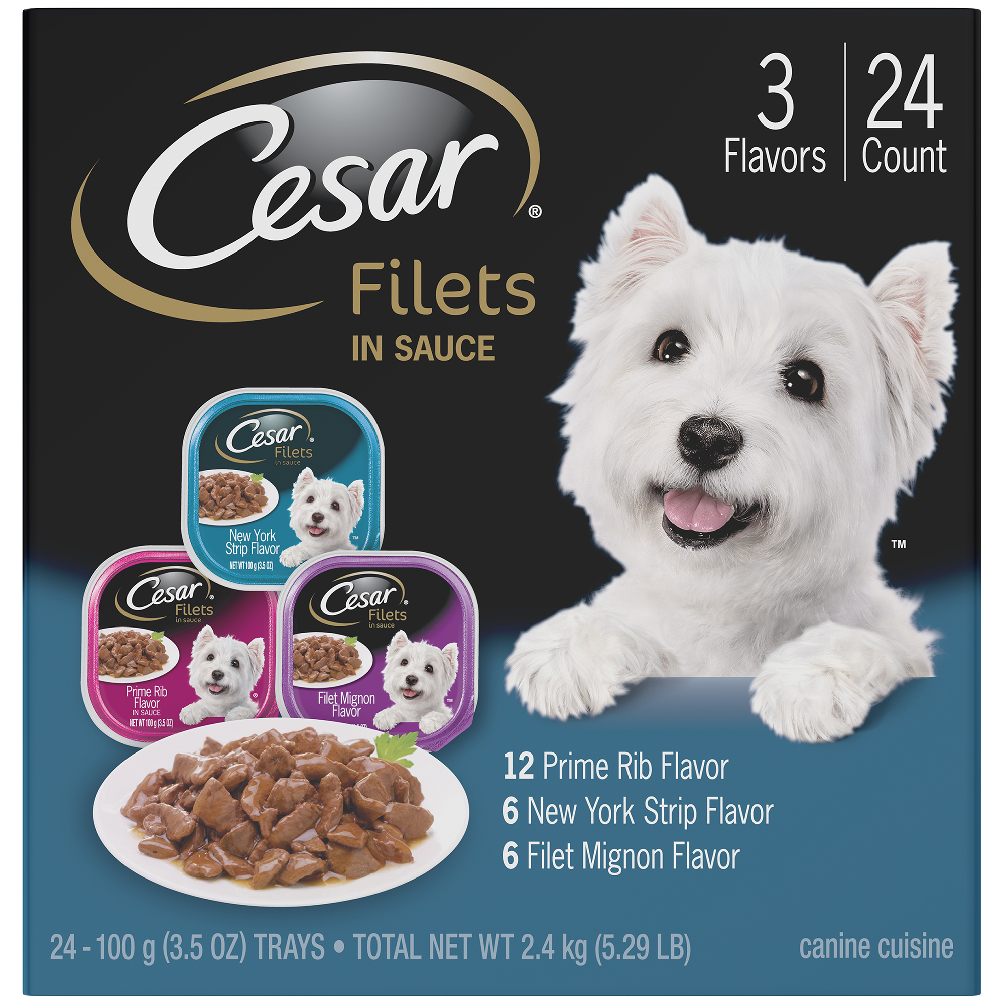CESAR GOURMET FILETS Wet Dog Food Filet Mignon, New York Strip, and Prime Rib Flavors Variety Pack, (24) 3.5 oz. Trays