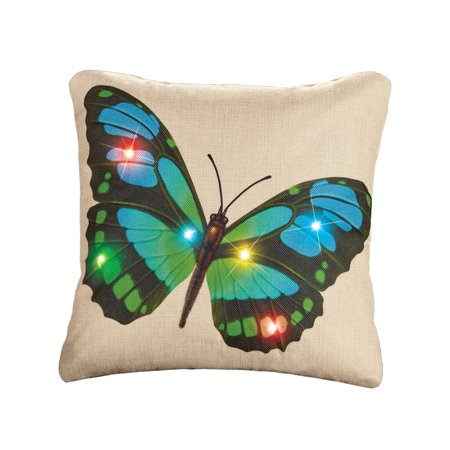 Unique Blue and Green Butterfly Lighted Pillow Cover with Flickering Multi-Colored Lights, Seasonal Decorative Home Accent, Blue/Green